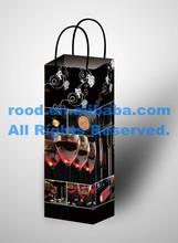 Luxury Decorative Wine Bottle Carrying Paper Bag, Red Wine Bottle Bag