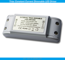 Noise free flicker free 12W dimmable led driver 350ma 0-100% dimming range TRIAC dimming led driver