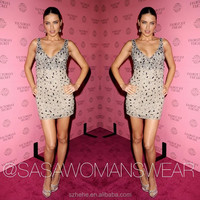 W614 Free Shipping Exquisite Adriana Lima generous beaded short bling bling cocktail dress
