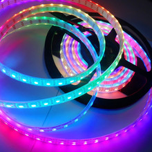 4m DC5V addressable WS2812B led pixel strip,74pcs WS2812B/M with 74pixels;WHITE PCB;IP68;epoxy resin filled in the tube