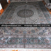 stain oriental silk hand knotted check pattern carpets