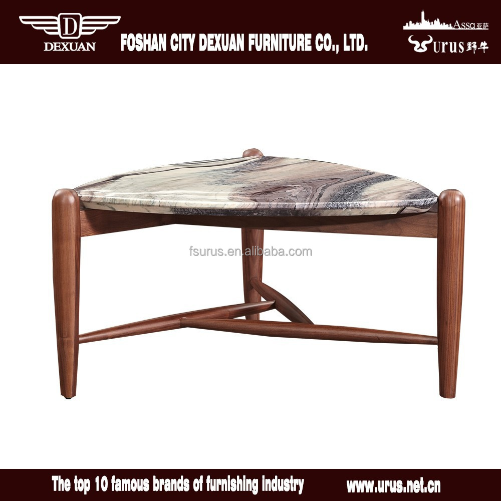 Unique small wooden center table design with marble top for Small centre table designs