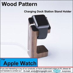 Wood Pattern Charging Stand Bracket Docking Station Charger Holder For Apple Watch