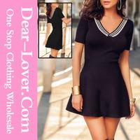 Hot Sale fashion Sexy Stripe V Neck Short Sleeves Black woman dress clothes