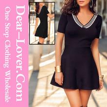 أزياء الساخنة مثير بيع الشريط الخامس عنق قصيرة الأكمام سوداء ملابس المرأة اللباس