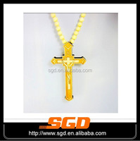 2015 hot selling 316L stainless steel hip hop wood rosary necklace