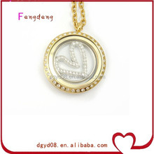 25mm or 30mm round shape stainless gold color glass living memory floating locket