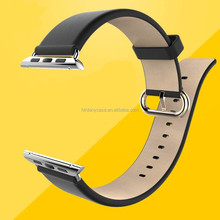 in stock thin genuine leather watch strap band for apple watch with adapter