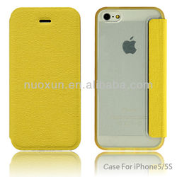 New design leather flip case for apple iphone5