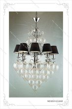 8 Heads Black Fabric Shade Decorative Clear Glass Ball Chandelier