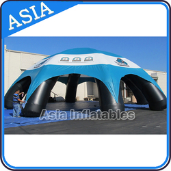 Outdoor inflatable advertising dome tent with 8 pillars and blue dome for family camping