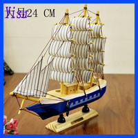Wholesale Hot birthday gift 24cm wood carving crafts sailboat