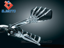 ZJMOTO Universal Chrome Billet Skull skeleton hand mirrors metric 10/8mm Side Mirror Streetfighter Motorcycle REAR VEIW MIRROR