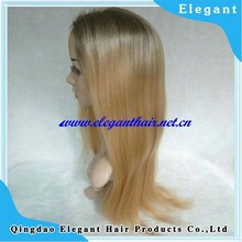 top quality no shedding no tangle ombre color Chinese virgin hair wig for women