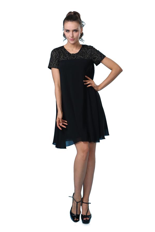 Camiseta de manga corta bordado vestido de gasa vestido corto en