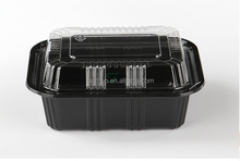 black disposable plastic sushi take away packaging box