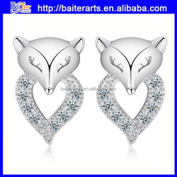 Cute Beautiful Cheap 925 Sterling Silver micro pave Cat Earrings