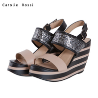 Small MOQ latest stripe heel women wedge shoes