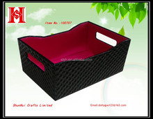 Fashionable Black PU Leather with red satin Gift & Cosmetic handmade Tray for holiday