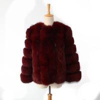 new style upscale women wine red fox fur overcoat