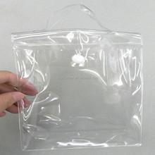 Clear PVC vinyl foil snap button bag with plastic handle