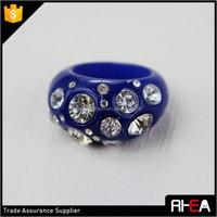 Fashion Wholesale Jewelry Big Size Full Crystal Blue Acrylic Ring