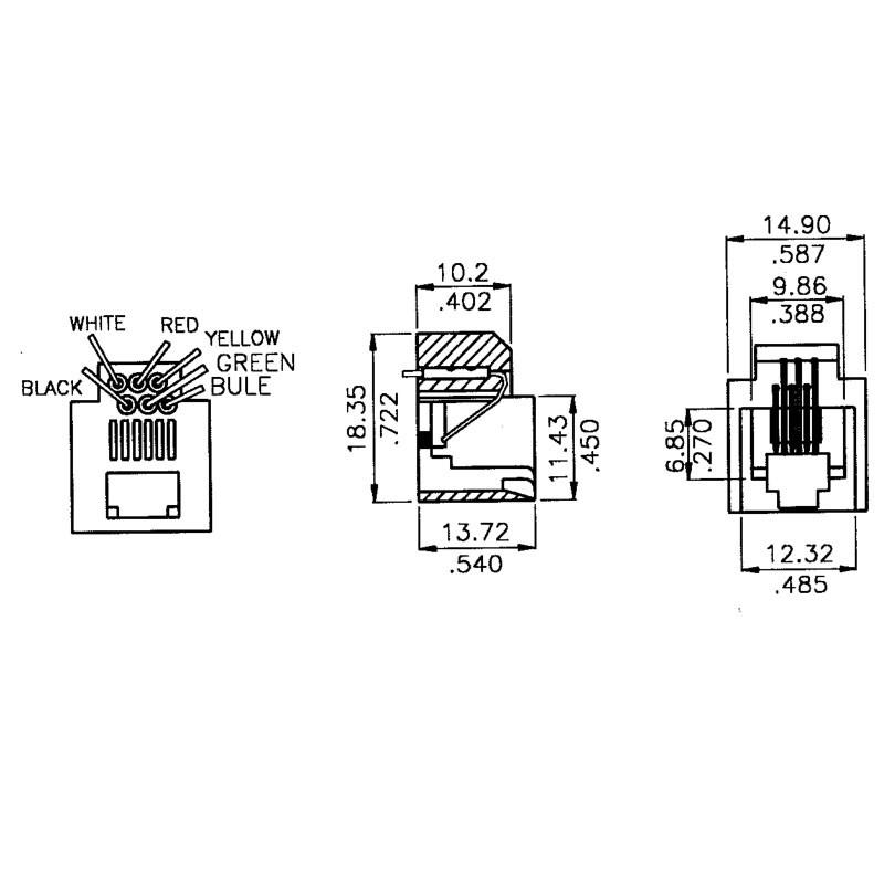 rj11 wired telephone jack 623k