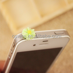 Flower Cellphone Charm Anti Dust Plug 3.5mm Ear Cap Jack For iPhone