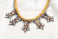 New Fashion Multi Colors Glass Stones Pendant Necklace Wholesale, Cord String, Shourouk Necklace