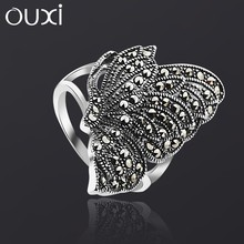 OUXI wholesale custome sterling butterfly antique silver ring