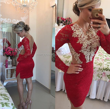 (MY2930) Marry You Sexy Long Sleeve Lace Beadings Backless Short Red Cocktail Party Dress