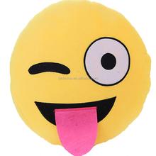 Super Soft Velvet plush emoji pillow stuffed toys wholeslae cheap round smiley cushion gift for Christmas