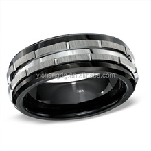 7.0mm 316L Stainless Steel Men Ring, Men Black Ceramic Wedding Band Ring