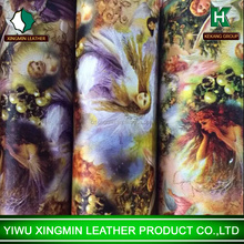 New arrival fashion printing western beauty pvc synthetic leather for bag imitation leather artificial leather