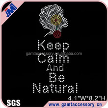Keep Calm Be Natural Afro Girl Rhinestone Transfer