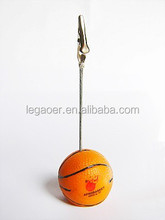 Polyresin Basketball Shaped Metal Clip Memo Holder