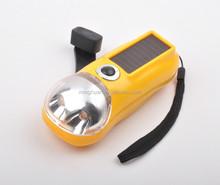 2LED plastic manual rechargeable hand crank solar flashlight
