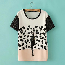 Women fashion printing designed sequin beaded sleeve T-shirt