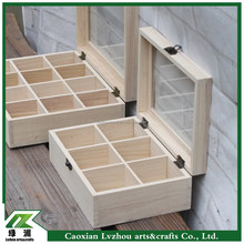 New design natural compartment design wooden box with lock and glass lid