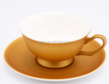 GRS new bone china gold cup and saucer for coffee and tea