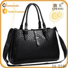 Lastest women big designer woven shoulder bag genuine leather tote bag