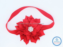 Popular fashion top baby girls Christmas red flower foe headband boutiques