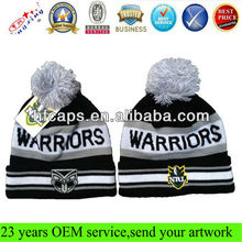 Fold up men embroidered pom pom knitted beanie hat