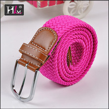 Trending hot products 2015 Italy Italian stretch woven belt orange with Brown leatherr Tabs