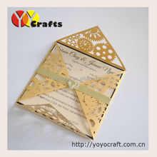 Inc71 wedding invitation card 2015 with gold color tied ribbon heart buckle
