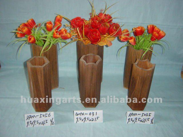 Antique D Coratif En Bois Vase Pot De Fleurs En Bois Pour Fleur S Che Vases En Bois Bambou Id
