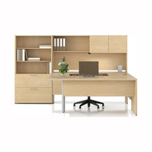 High Quality Laminate Office Desk Modern White Maple Color MFC Funiture Set