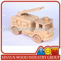 New Wooden Decorative Natural Fire Engine Play Set