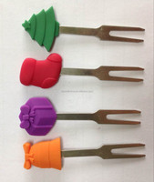 Food grade Cute silicone fruit fork with stainless steel