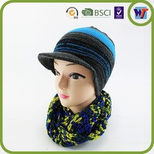Good quality classic New Design Knitted Hats and scarfs Sets,beanies